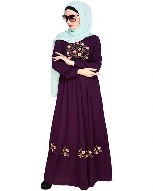 Plush Embroidered Purple Maxi Dress Abaya