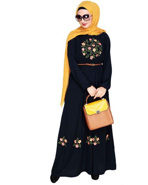 Plush Embroidered Dark Blue Maxi Dress Abaya