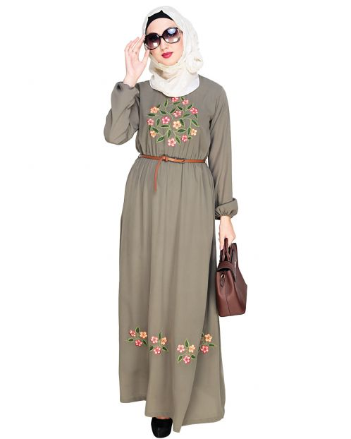 Plush Embroidered Dead Mint Maxi Dress Abaya