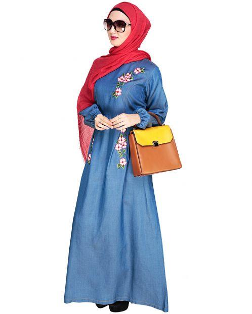 Box Pleated Blue Abaya