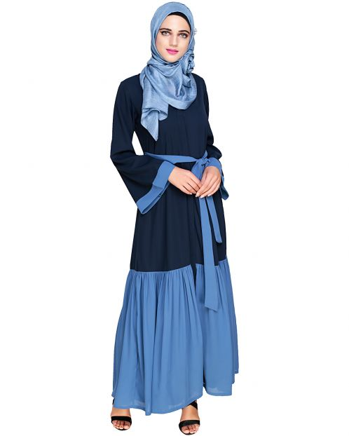 Glory Muster Dark Blue and Light Blue Abaya