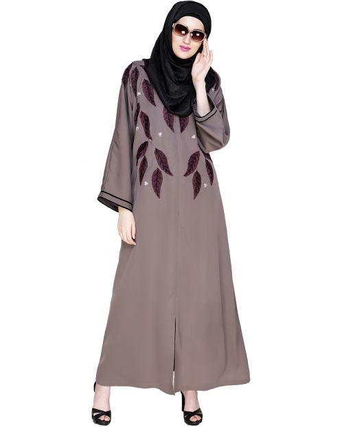 Blossomy Dubai Style Umber Brown Abaya