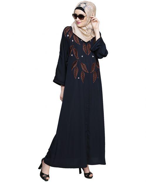 Blossomy Dubai Style Blue Abaya