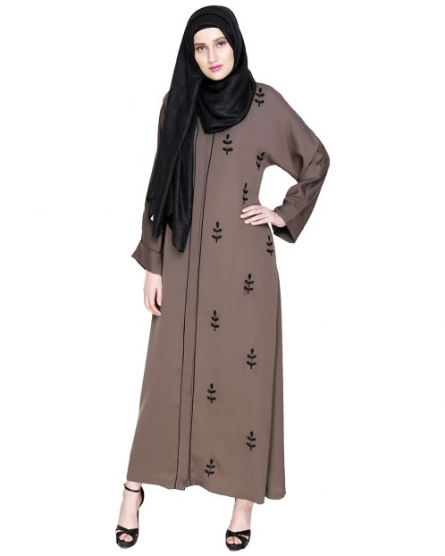 Botanic Oak Brown Beaded Dubai Style Abaya