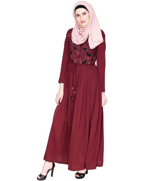Sylvan Pleated  Dubai Style Wine Abaya