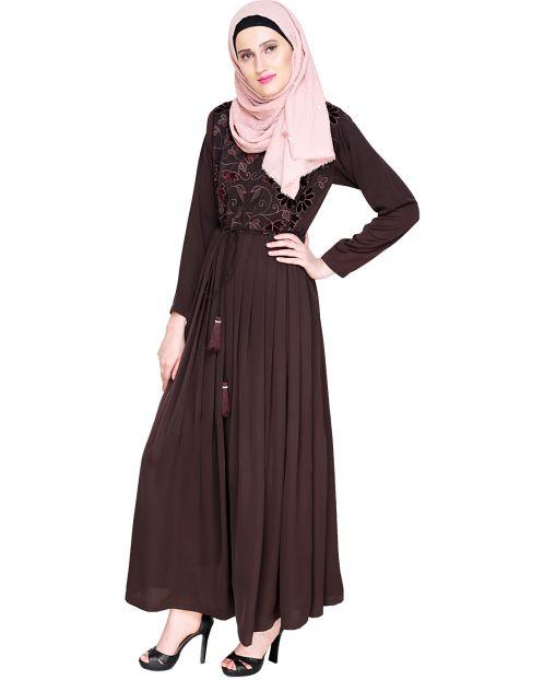 Sylvan Pleated  Dubai Style Brown Abaya