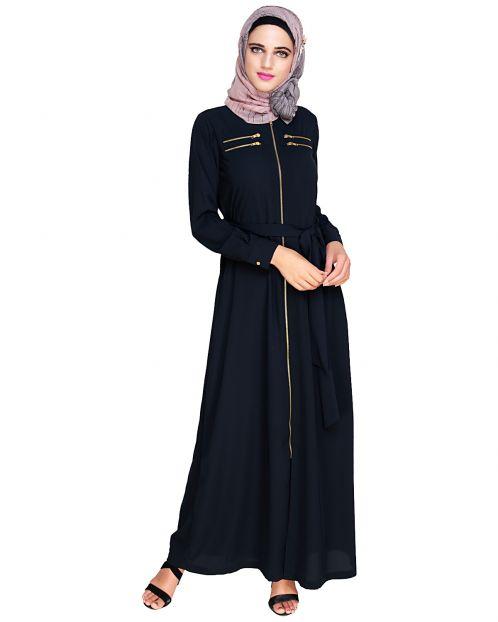 Metallic Sheen Front Zipper Blue Abaya