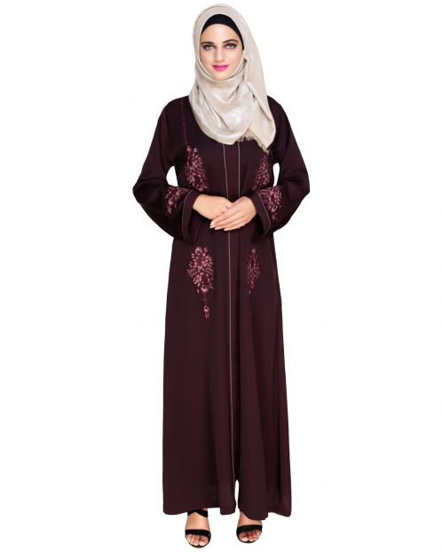 Appealing Wine Floral Embroidery Dubai Style Abaya