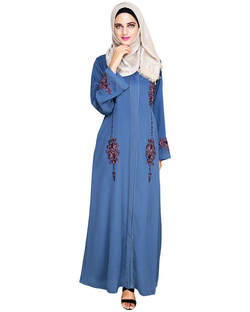 Appealing Blue Floral Embroidery Dubai Style Abaya
