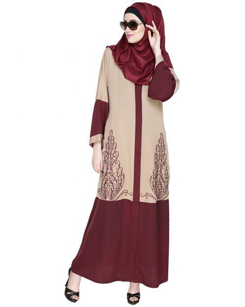 Eden  Dubai Style Beige and Wine Embroidered Abaya