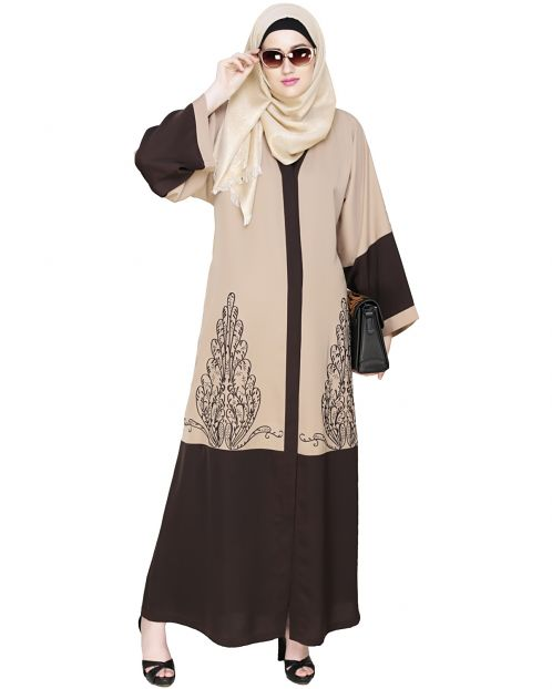 Eden  Dubai Style Beige and Brown Embroidered Abaya
