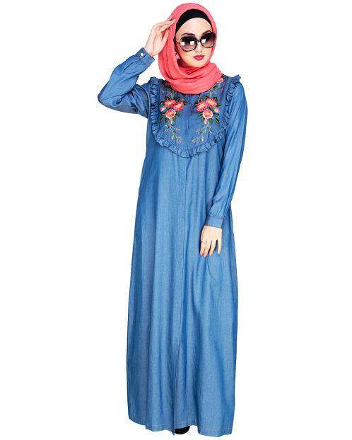 Ruffled Affair Blue Abaya