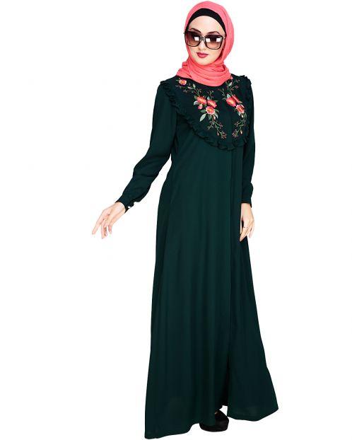 Ruffled Affair Green Abaya