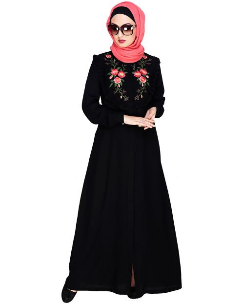 Ruffled Affair Black Abaya