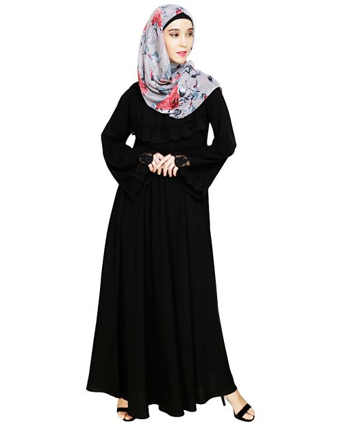 Flouncy Laced Black Abaya