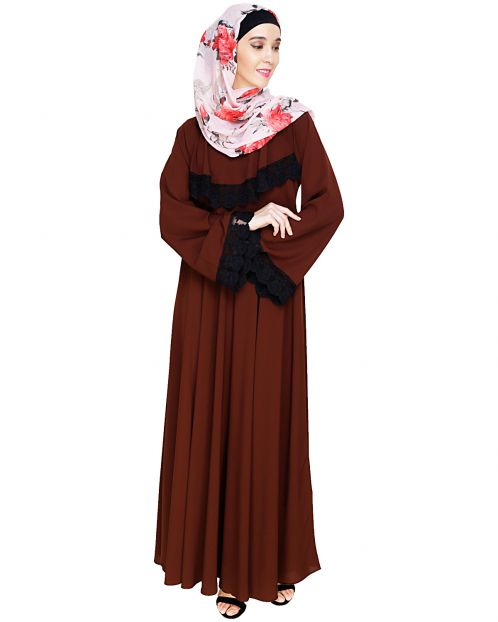 Flouncy Laced Brown Abaya