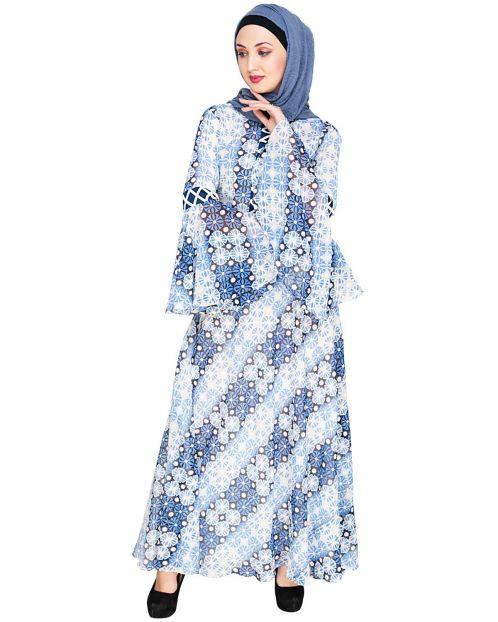 Melange Printed Blue Maxi Dress