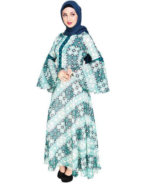 Melange Printed Green Maxi Dress