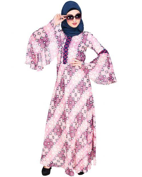 Melange Printed Fuschia Maxi Dress