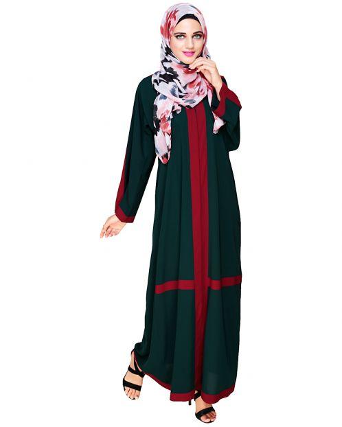 Enswathe Bottle Green Dubai Style Abaya