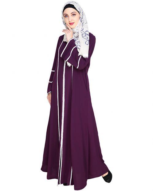 Snazzy Lace Purple Abaya