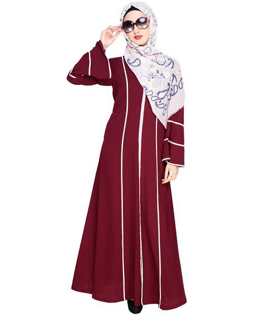 Snazzy Lace Wine Abaya