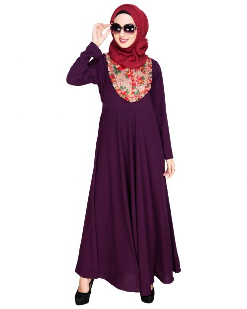 Fanciful Ruche Puple Maxi Dress Abaya