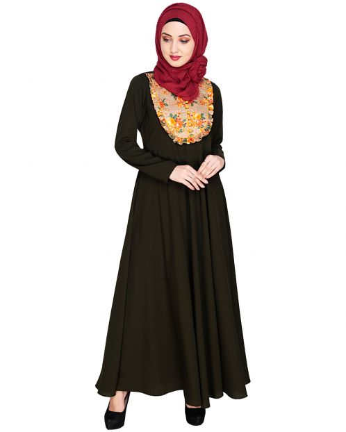 Fanciful Ruche Olive Maxi Dress Abaya