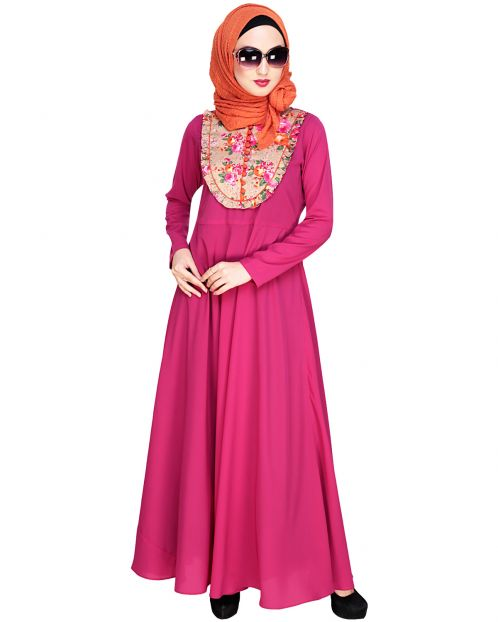 Fanciful Ruche Fushia Maxi Dress Abaya