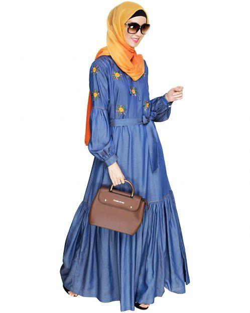Dreamy Floral Embroiderd Denim Abaya