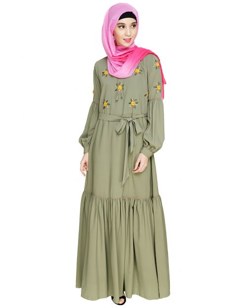 Dreamy Floral Embroiderd Dead Mint Abaya