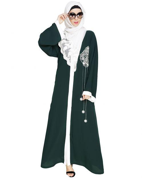 Contrast Embroidered Green Dubai Style Abaya