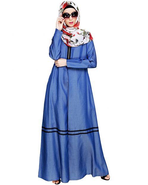 Graceful Lacy Dark Blue Denim Abaya