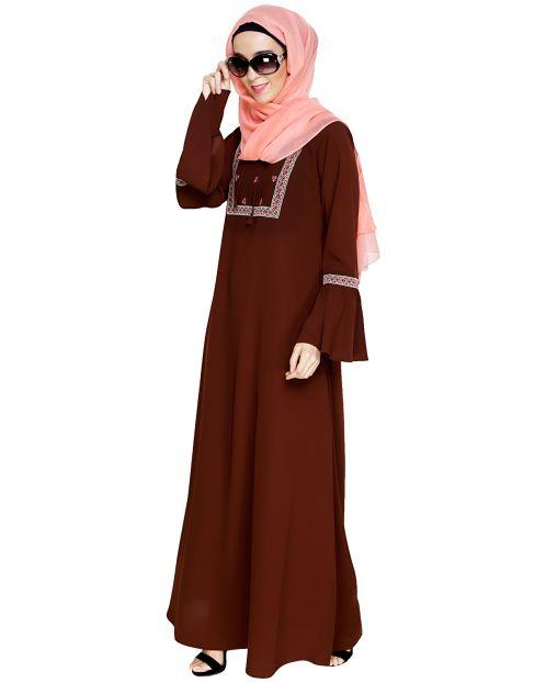 Boho Embroidered Brown Abaya