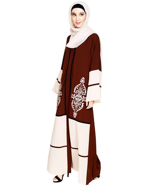 Flamboyant Embroidered Brown Dubai Style Abaya