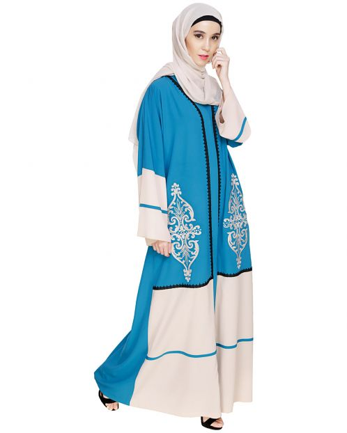 Flamboyant Embroidered Teal Blue Dubai Style Abaya