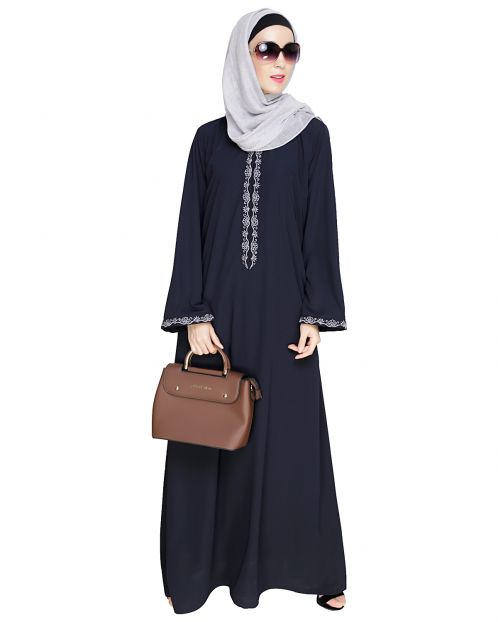 Lotus Embroidered Blue Dubai Style Abaya