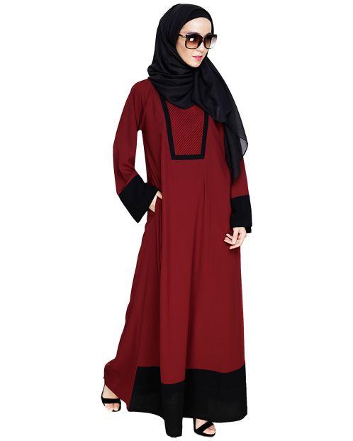 Embroidered Yoke Wine Dubai Style Abaya