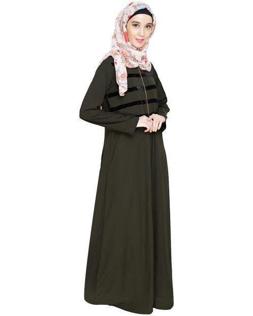 Enticing Stripes Olive Abaya