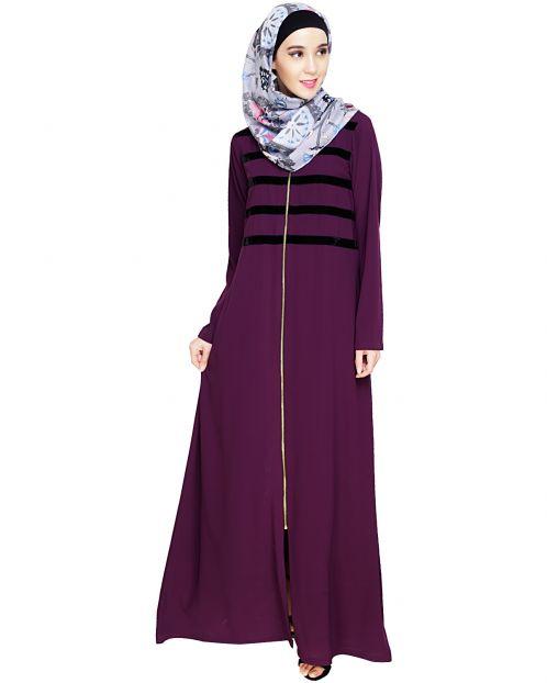 Enticing Stripes Purple Abaya