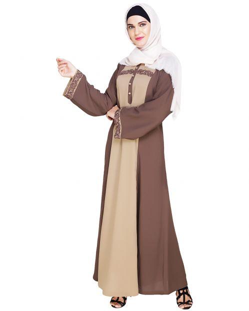 Panelled Dubai Style Mud Brown Abaya