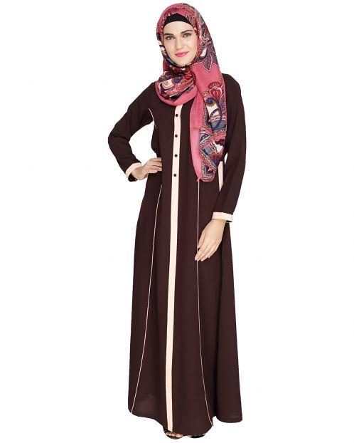 Brown Panelled Abaya