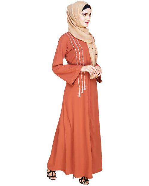 Elegant Brick Red Embroidered Abaya