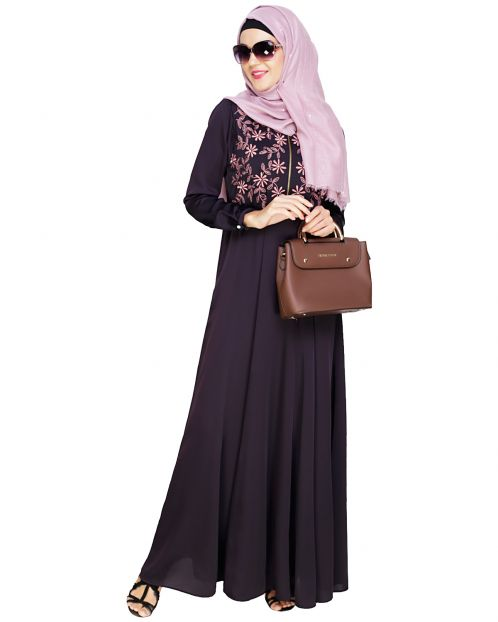 Beautiful Embroidered Yoke Dark Purple Abaya