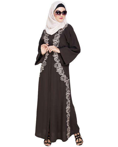 Astonishing Embroidered Mud Brown Dubai Style Abaya