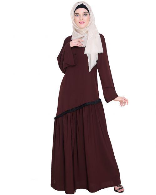 Fringe Lace Brown Abaya