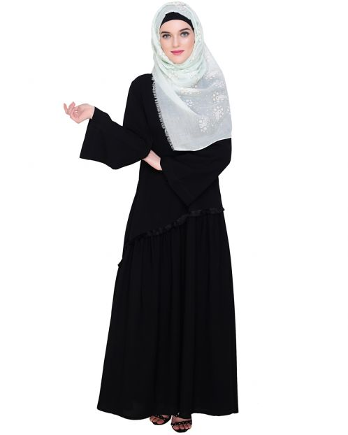 Fringe Lace Black Abaya