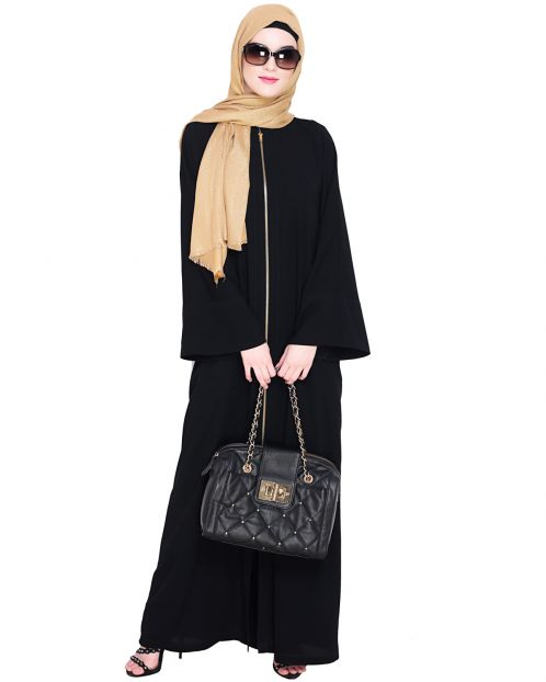 Dazzling Zip-Up Black Abaya