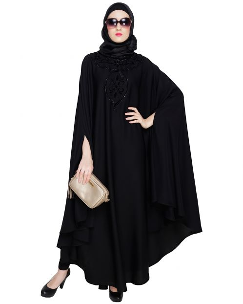 Velvet Applique Black Irani Kaftan