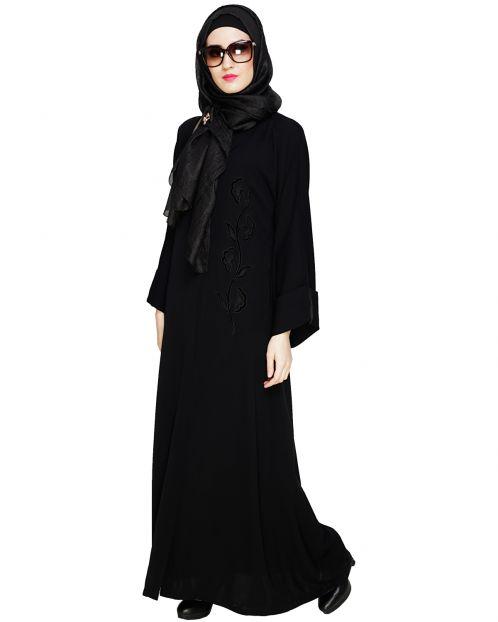 Exclusive Black Applique Dubai Style Abaya